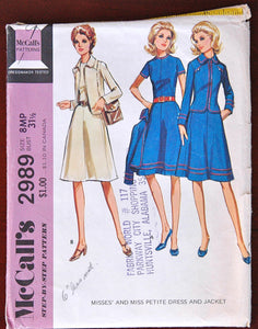 1970's McCall's Dress and Jacket Pattern - PETITE - Bust 31 1/2 - no. 2989