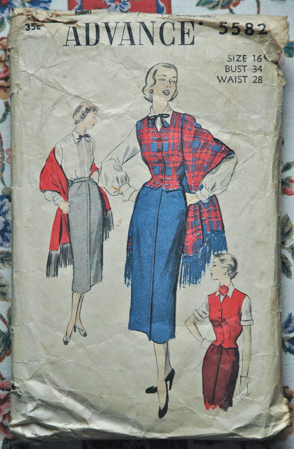 1940's Advance Blouse, Waistcoat, Skirt and Stole Pattern - Bust 34