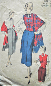 "1940's Advance Blouse, Waistcoat, Skirt and Stole Pattern - Bust 34"" - No. 5582"