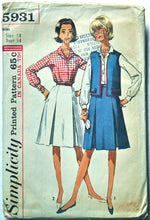 1960's Simplicity Shirt, Vest and Skirt Pattern - Bust 34