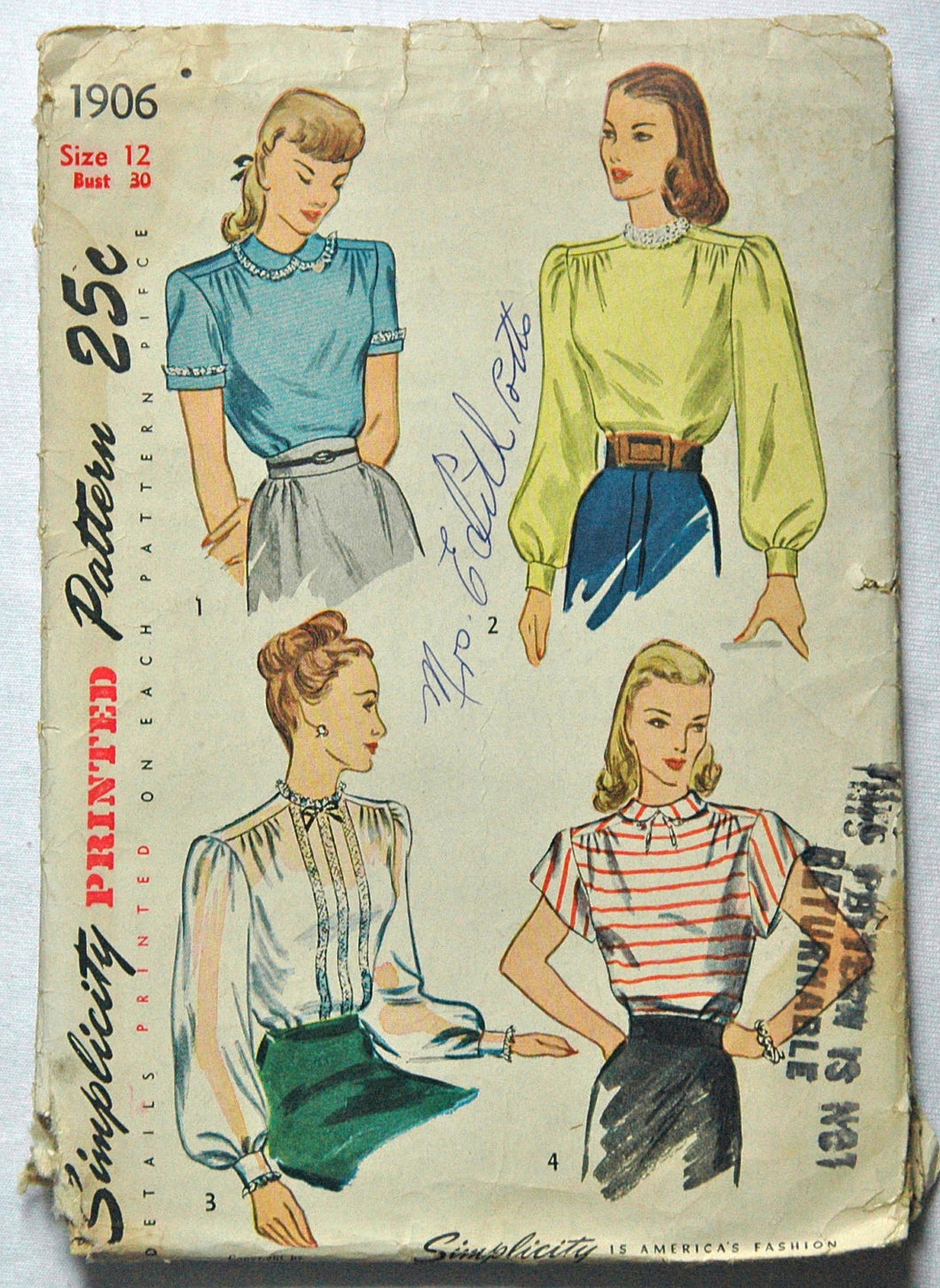 1940's Simplicity Blouse Pattern - Bust 30