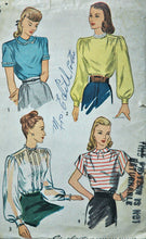 "1940's Simplicity Blouse Pattern - Bust 30"" - No. 1906"