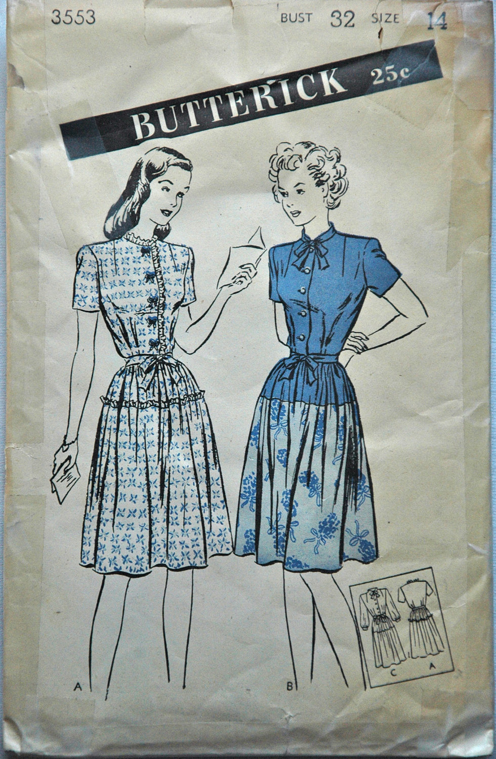 1940's Butterick One-Piece Drop Waist Dress Pattern - Bust 32