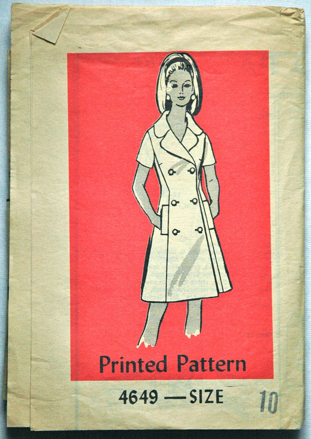 1970's Let's Sew Button-Up Dress Pattern - Bust 32 1/2 - no. 4649