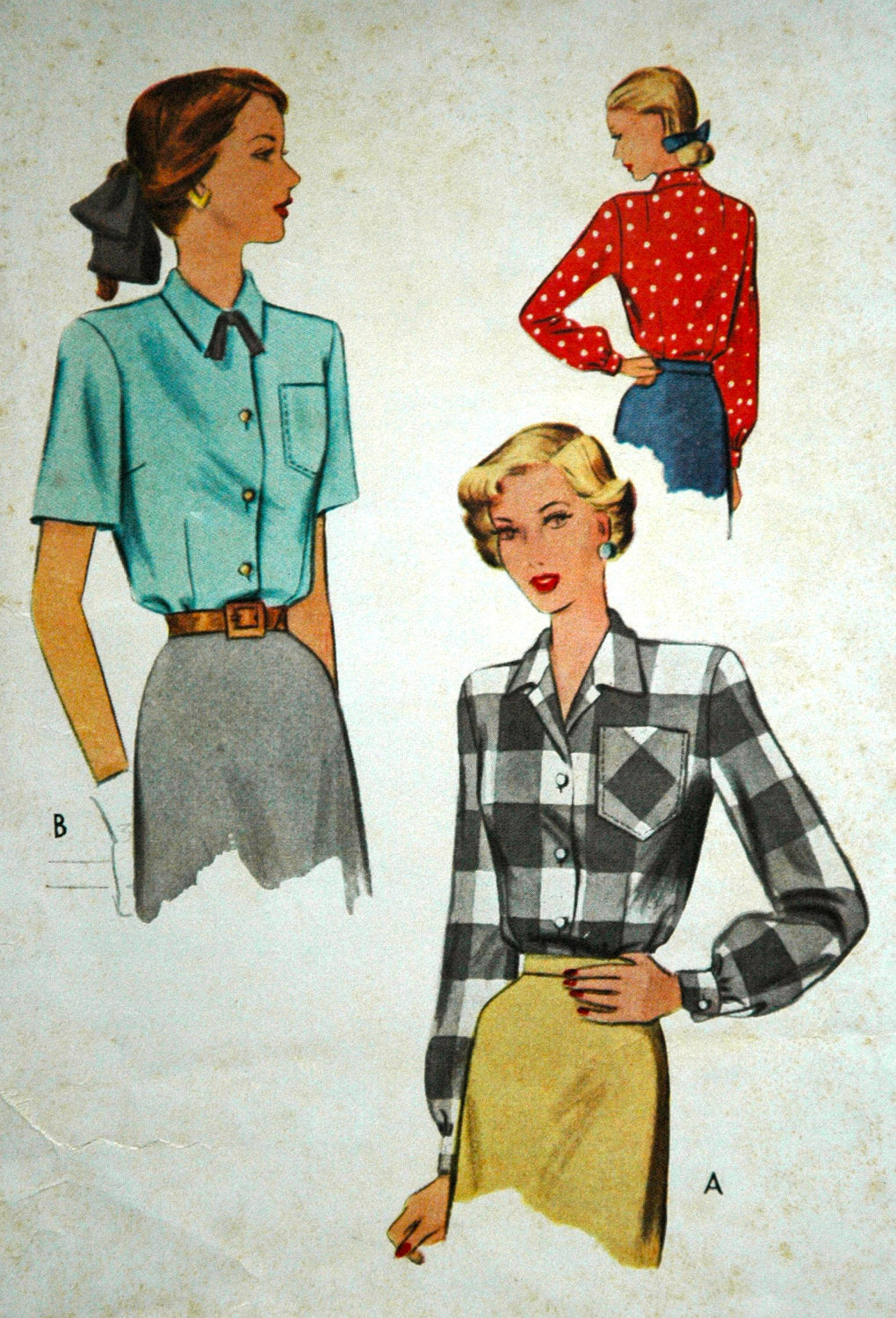 1940's McCall Button-up Blouse Pattern - Bust 32 - no. 7277