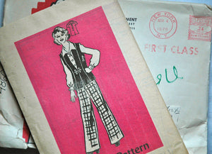 DISCOUNTED** 1970's Mail Order Blouse, Vest, and Pants Pattern - Bust 35 - UNCUT - no. 4860