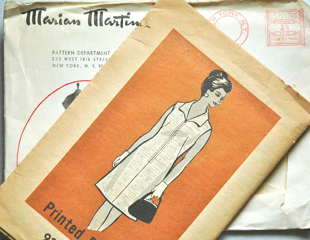 1960's Marian Martin One-Piece Dress Pattern - Bust 42 - No. 9363