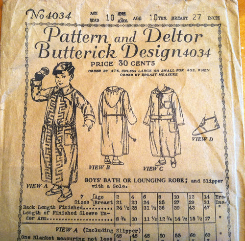1920's Butterick Boy's Bathrobe and Slipper Pattern - Breast 27