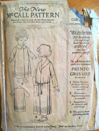 1920's McCall Girl's Robe Pattern -