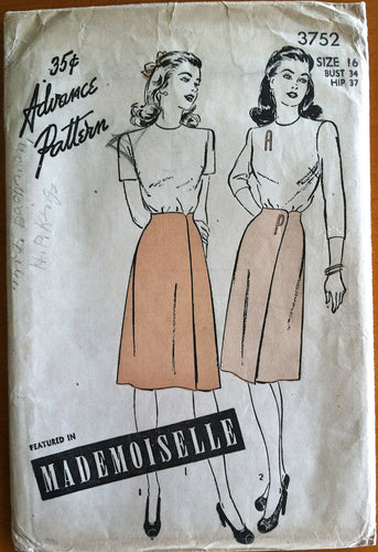 1940's Advance Blouse and Skirt Pattern  - Bust 34