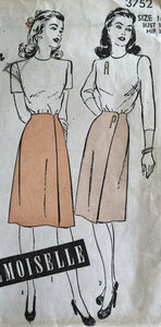 "1940's Advance Blouse and Skirt Pattern  - Bust 34"" - No. 3752"