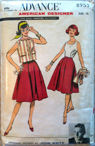 "1960's Advance Misses Blouse, Jacket and Skirt Pattern - Bust 36"" - no. 8953"