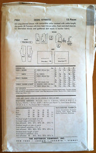 1950's Butterick Misses Skirt, Blouse, and Pants pattern - Bust 34 - no. 7954