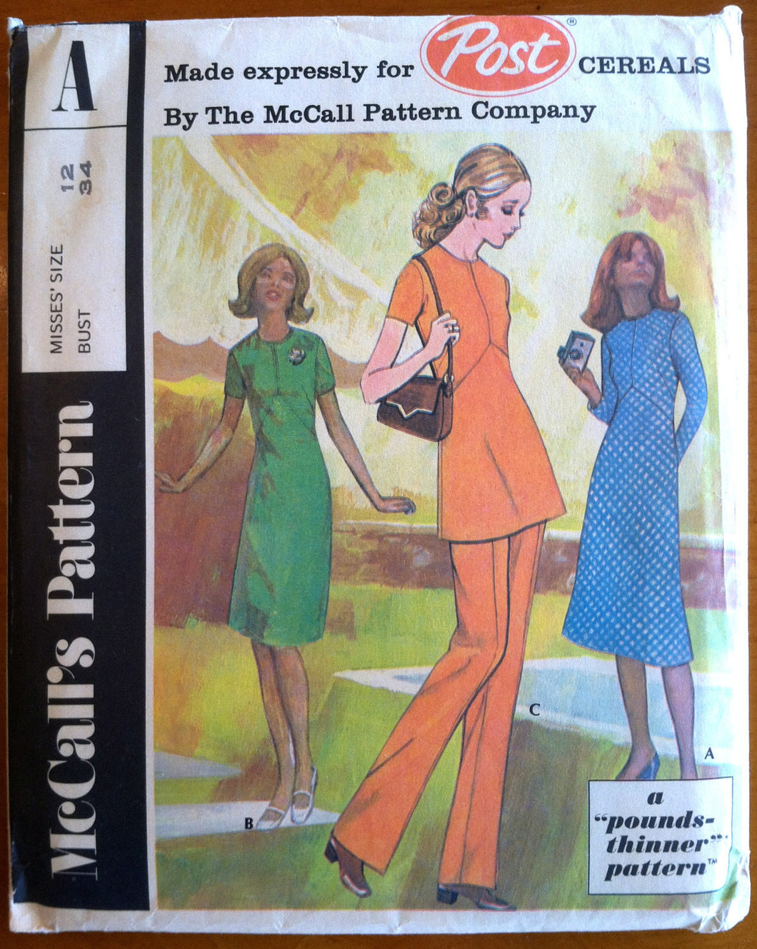 1970's McCall's Women's Dress, Tunic and Pants Pattern - Bust 34 - UNCUT - no. Post A