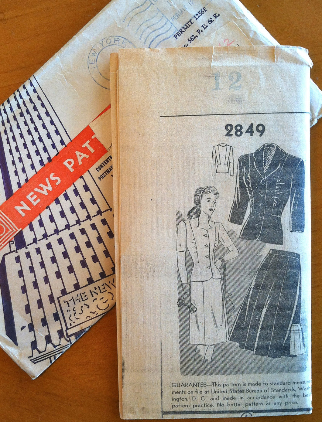 1940's Mail Order Two Piece Suit Pattern - Bust 30