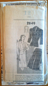 "1940's Mail Order Two Piece Suit Pattern - Bust 30"" - UNCUT - no. 2849"