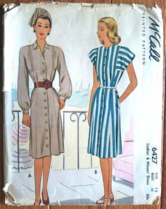 1940's McCall Button-up Dress Pattern - Bust 30 - UNCUT - no. 6427