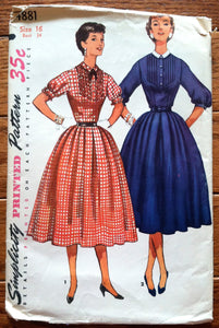 1950's Simplicity One-Piece Dress with Detachable Collar - Bust 34 - UNCUT - no. 4881