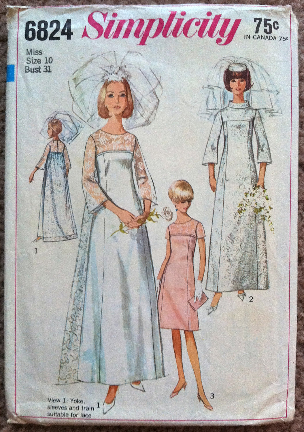 1960's Simplicity Wedding Dress and Bridesmaid Dress Pattern - Bust 31 - no. 6824