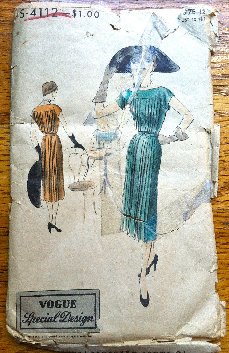 1950's Vogue Special Design Pleated One Piece Dress  Pattern - Bust 30