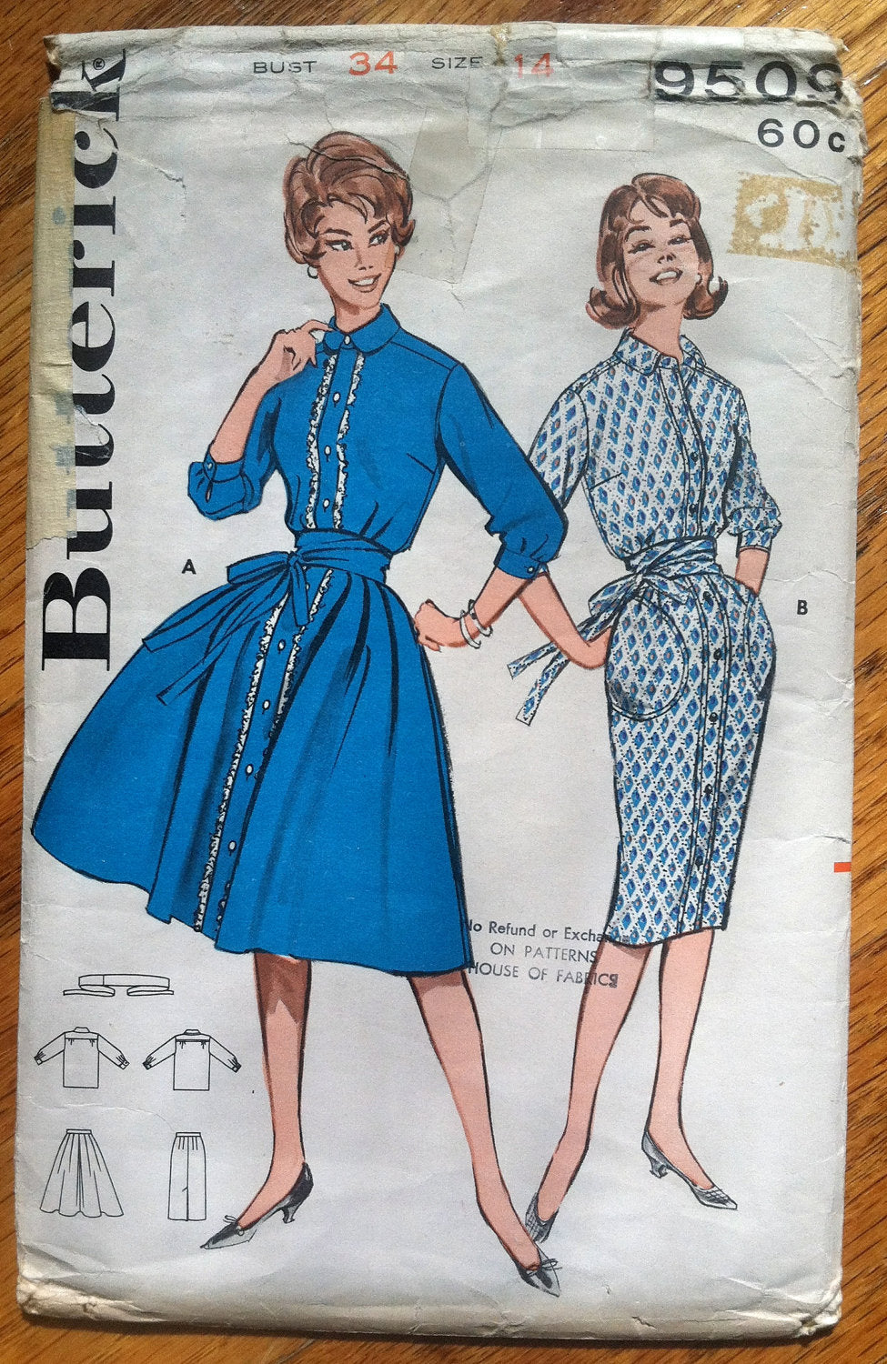 1960's Butterick Wiggle and Rockabilly Dress Pattern - Bust 34