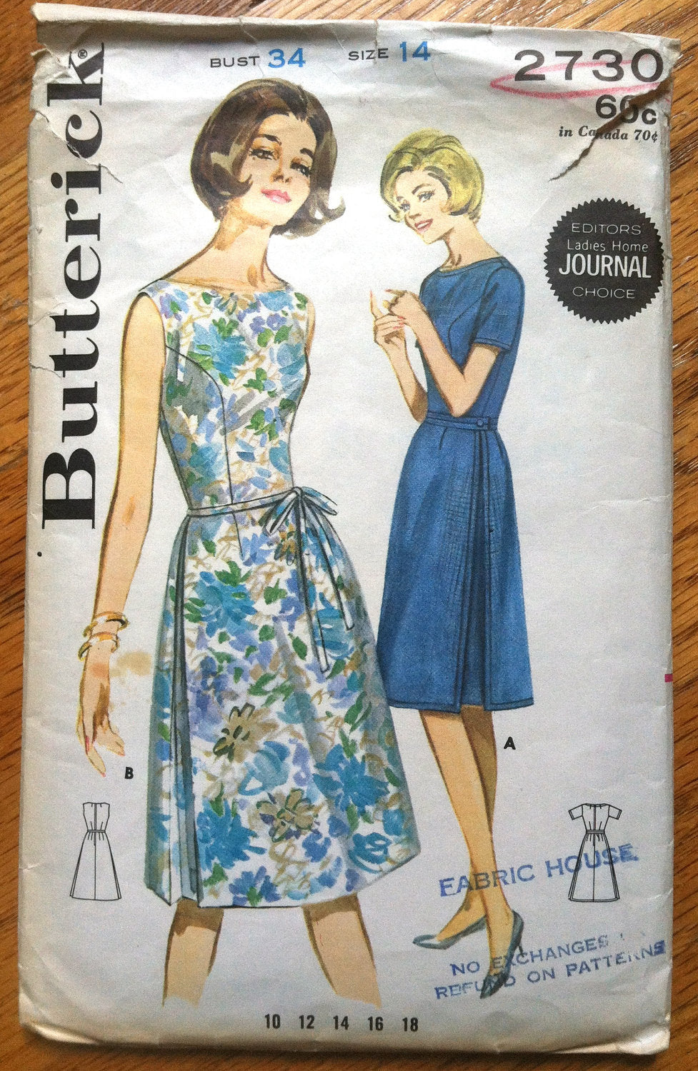 1960's Butterick Side Pleated Dress - Bust 34