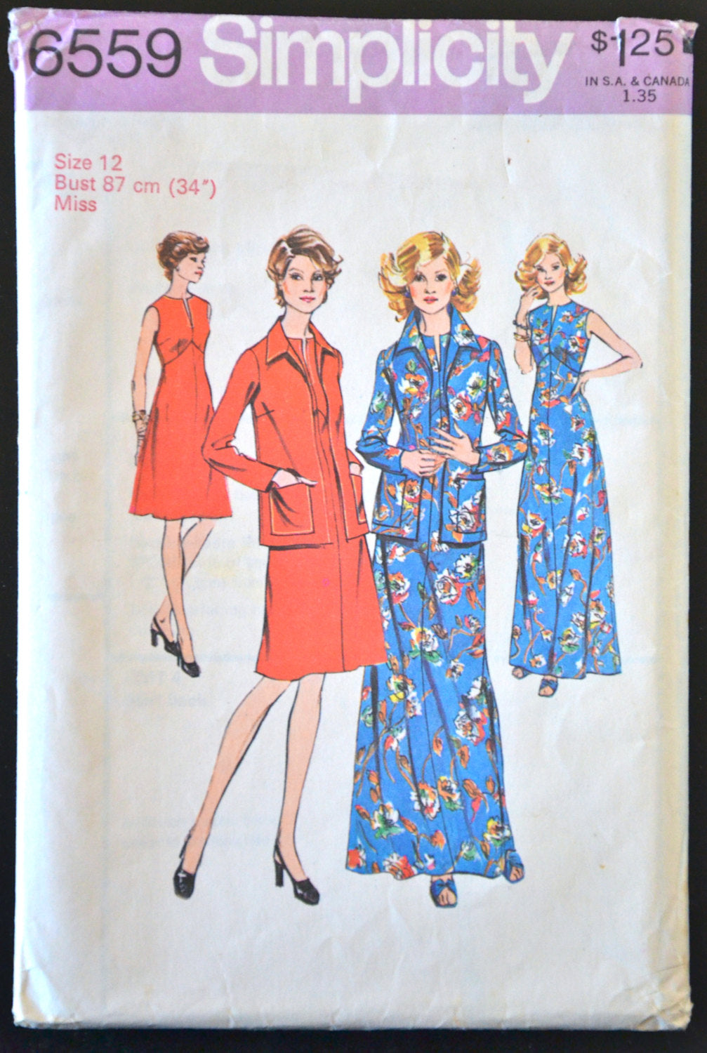 1970's Simplicity Maxi Dress, A-line Dress and Jacket Pattern - Bust 34