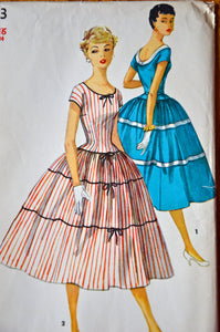 "1950's Simplicity One Piece Dress with full, tiered skirt pattern - Bust 34"" - UNCUT - no. 1083"