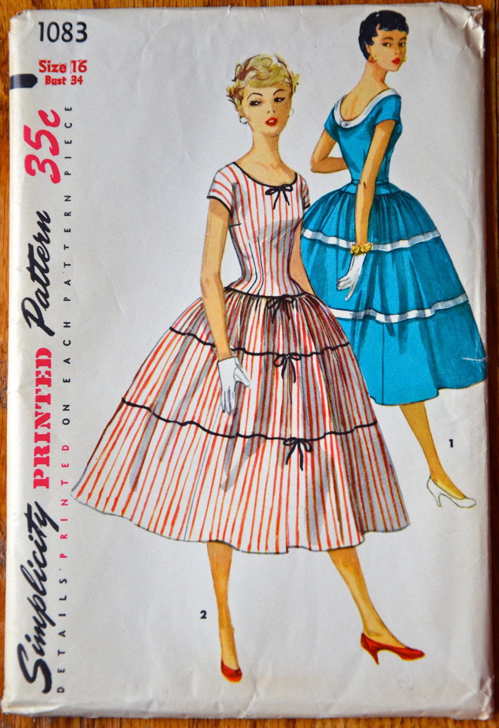 1950's Simplicity One Piece Dress with full, tiered skirt pattern - Bust 34