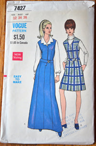 1960's Vogue Maxi and Short Jumper pattern - Bust 34 - no. 7427