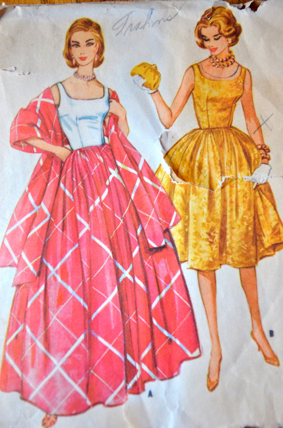 1960's McCall's One Piece Dress with Bouffant Skirt and Fitted Bodice pattern  - Bust 34
