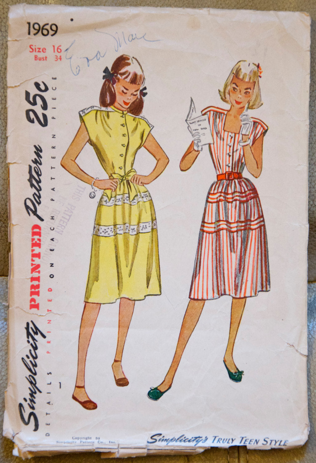 1940's Simplicity One Piece Dress - Bust 34 - No. 1969