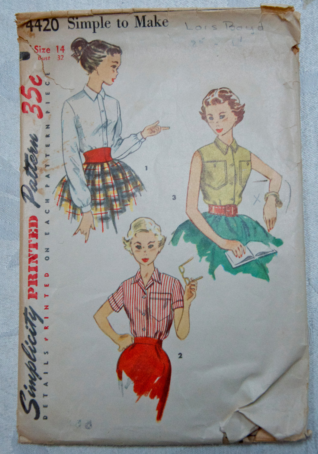 1950's Simplicity Button-up Blouse pattern - Bust 32 - No. 4420