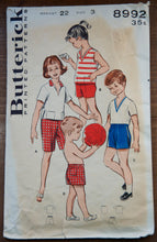 "1950's Kid's Active Wear pattern - Top ONLY - Breast 22"" - No. 8992"