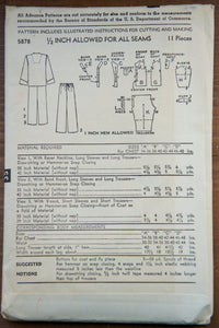 "1950's Advance Men's Pajama pattern - Chest 38-40"" - No. 5878"