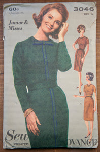 "1960's Sew-Easy Advance Misses' Dress pattern - Bust 34"" - No. 3046"