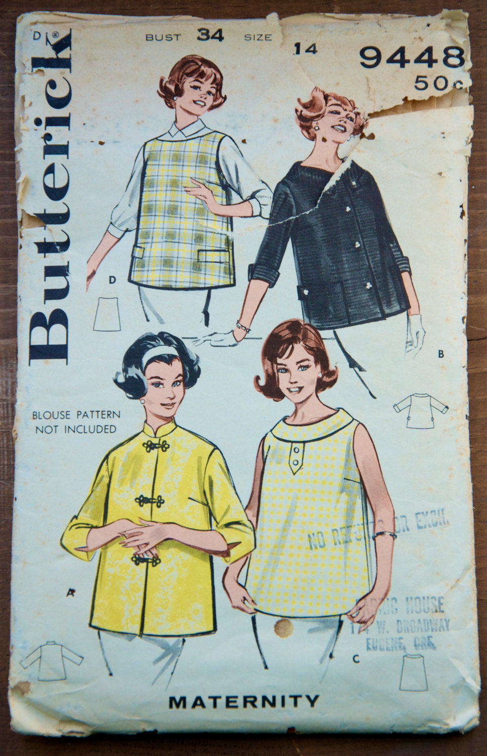 1960's Butterick Maternity Blouse pattern - Bust 34