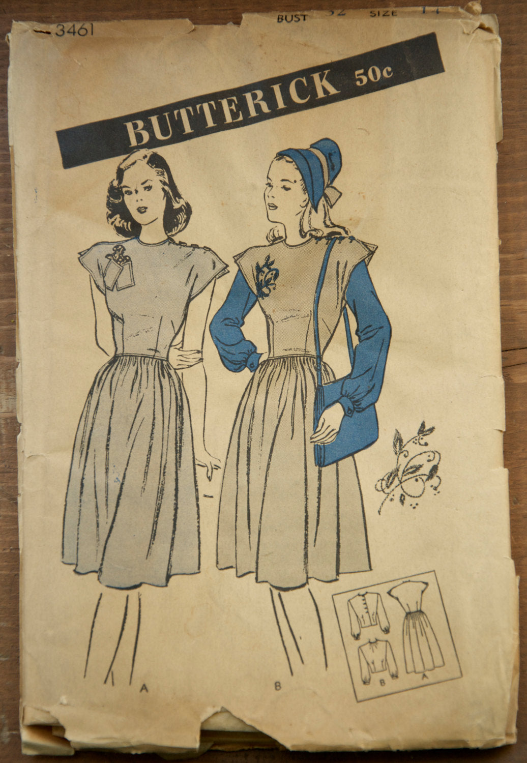 1940's Butterick One Piece Dress with gathered skirt and Blouse - Bust 32