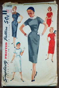 "1950's Simplicity Wiggle Dress - Bust 30"" - No. 1410"