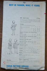 1960's Vogue Paris Design Girl's Dress and Smock pattern - Size 7 - No. 5981