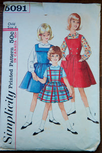 1950's Simplicity Girl's Dress and Blouse pattern - Size 6 - No. 5091