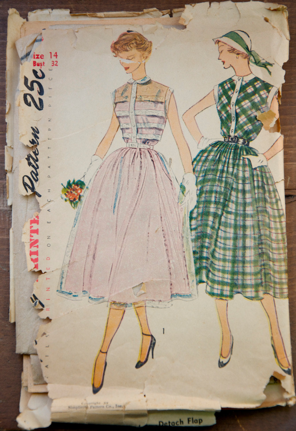 1950's Simplicity One-piece Dress pattern - Bust 32