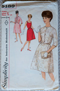 1960's Misses' One Piece Dress and Jacket pattern - GERMAN - Bust 97 cm - No. 5189
