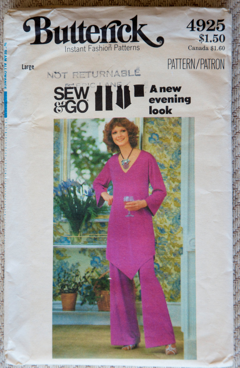 1970's Butterick Tunic and Pants pattern - UNCUT - Bust 38 - 40