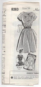 1960's Grit Mail Order Short-sleeve belted Dress Pattern - Bust 36 - No. 8263