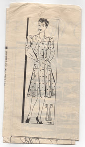 1940's Marian Martin Dress Pattern with scalloped neckline - Bust 36 - No. 9181