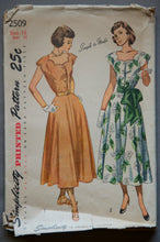 "1940's Simplicity A-line Dress Pattern - Bust 34"" - No. 2509"