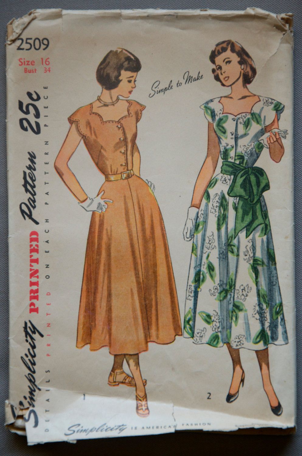 1940's Simplicity A-line Dress Pattern - Bust 34
