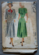"1940's McCall's Juniors One-Piece Dress in Short or Long Sleeve with Collar Pattern - UNCUT - Bust 29"" - No. 7205"
