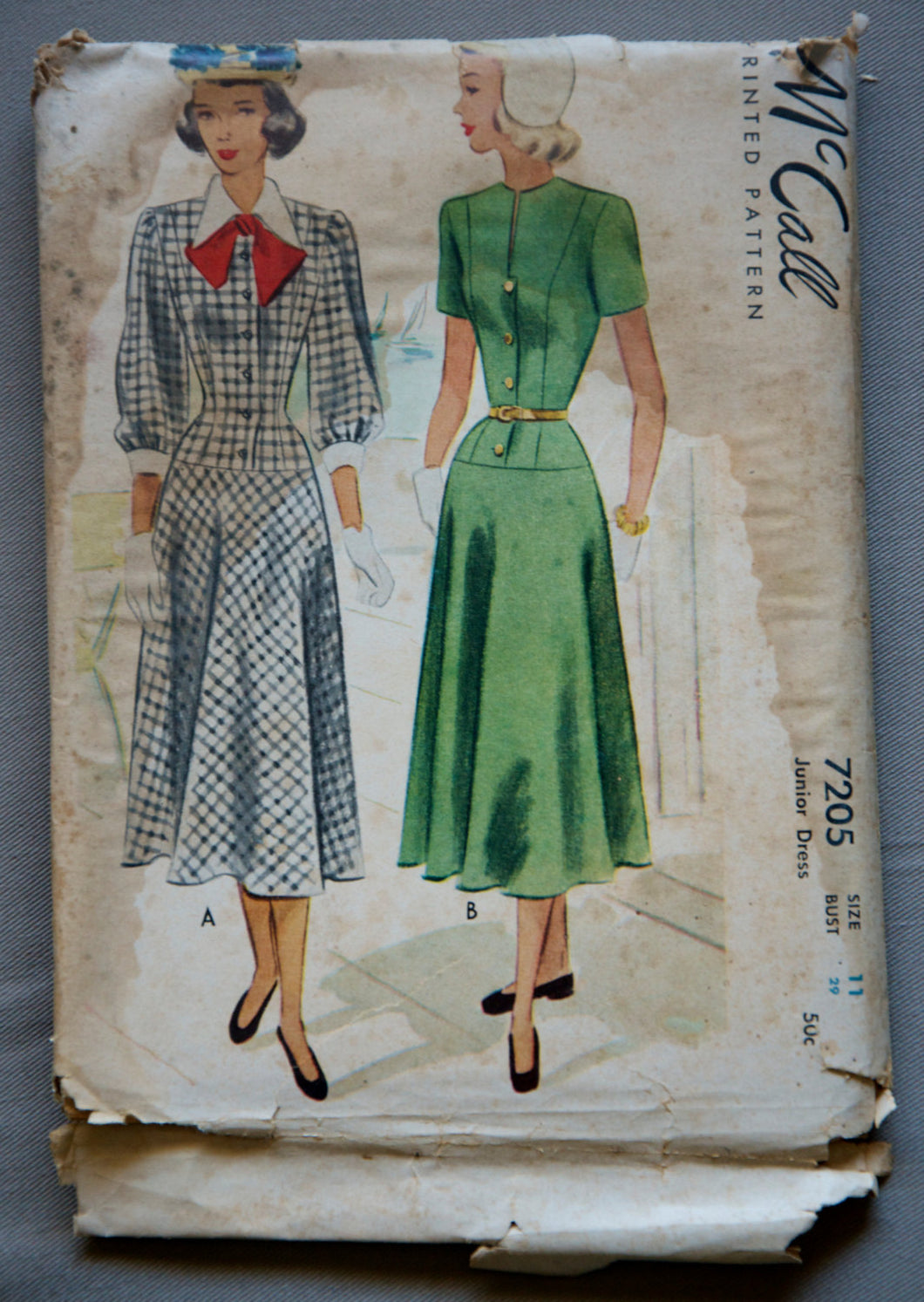 1940's McCall's Juniors One-Piece Dress in Short or Long Sleeve with Collar Pattern - UNCUT - Bust 29